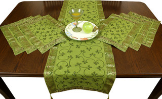Embroidered Placemats and Table Runner, 7-Piece Set, Citrus Green