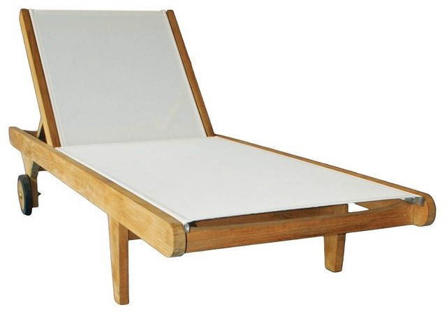 Hampton chaise lounge in teak white outdoor chaise for Chaise longue tours