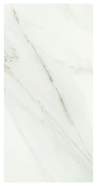 "24""x48"" Calacata Rectified Porcelain Digital Tech Floor And Wall Tile, Set Of 2."
