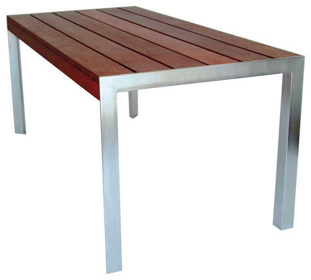 Ipe Wood Modern Outdoor Dining Table Set Stainless Steel