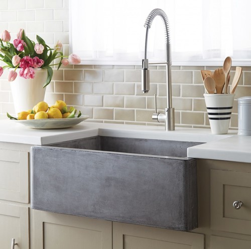 Farmhouse kitchen sink choices fireclay vs enamel vs concrete urgent i saw a sink on a website from native trails made from a product called native stone which they describe as a concretejute material workwithnaturefo