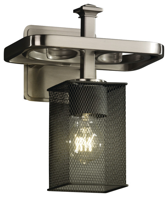 Wire Mesh Arcadia 1-Light, Wall Sconce With Square, Flat Rim Shade - Transitional - Wall Sconces ...