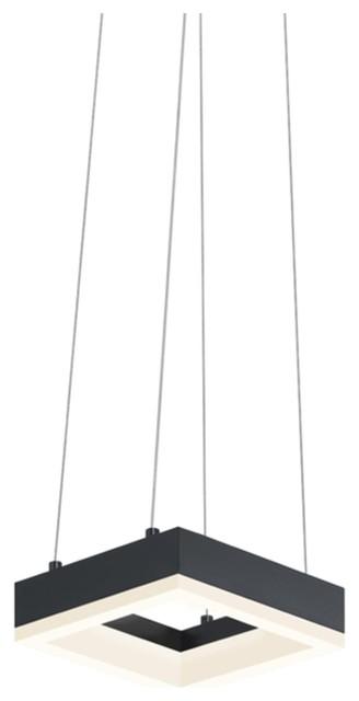 Corona Square Architectural 7 LED Pendant Satin Black Modern Lighting