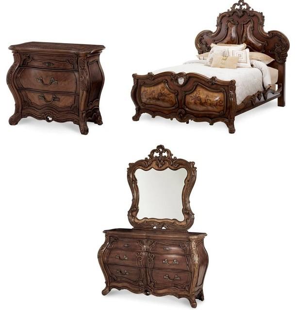 Palais Royale Panel Bedroom Set Rococo Cognac 4 Piece