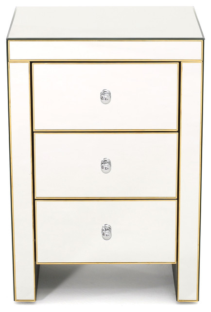 Langley Mirrored 3 Drawer Side Table. -1