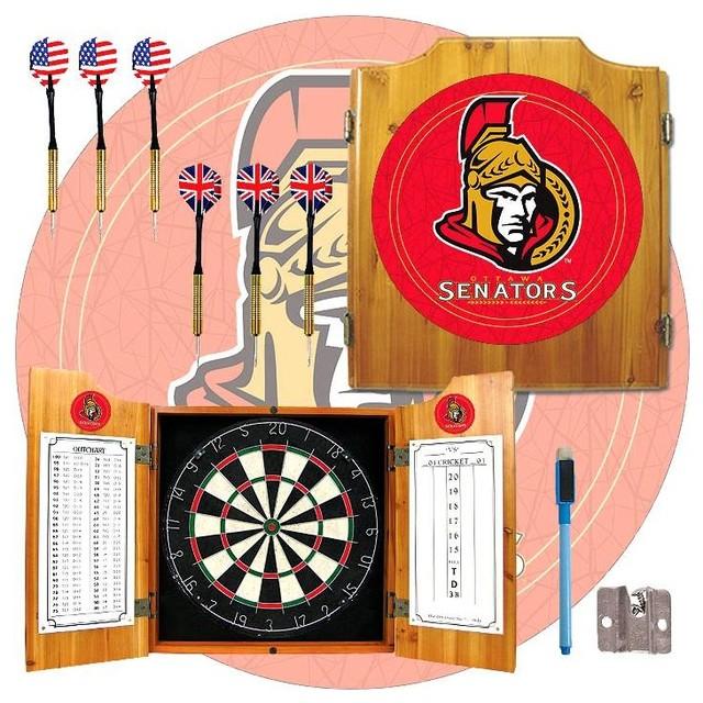 Fully Equipped Dart Cabinet w NHL Ottawa Sena ...
