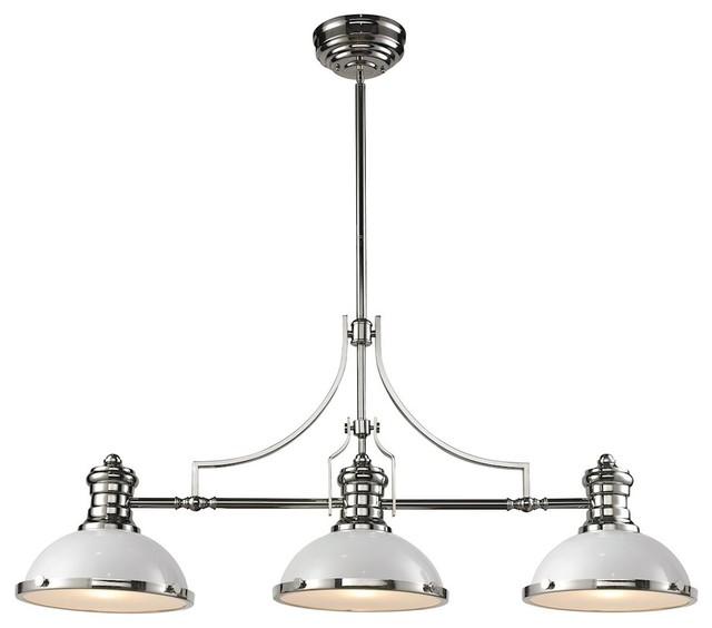 Chadwick 3-Light Billiard, Gloss White And Polished Nickel