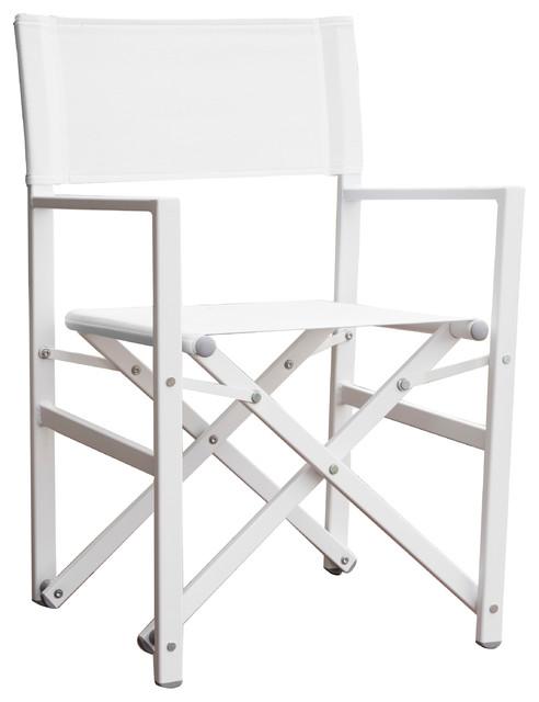 Swell Studio Aluminum Folding Directors Chair Dark Gray White Machost Co Dining Chair Design Ideas Machostcouk