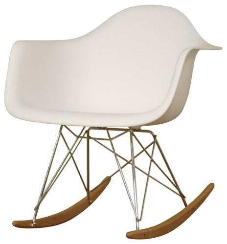 Magnificent Baxton Studio Dario White Plastic Mid Century Modern Rocking Chair Forskolin Free Trial Chair Design Images Forskolin Free Trialorg