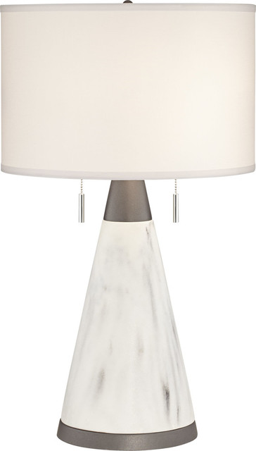 Big Table Lamp, Faux Marble Cone