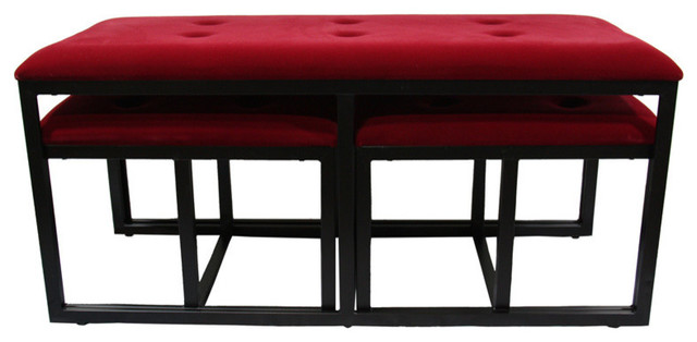 "20.5"" Red Suede Tufted Metal Bench With 2-Seatings."