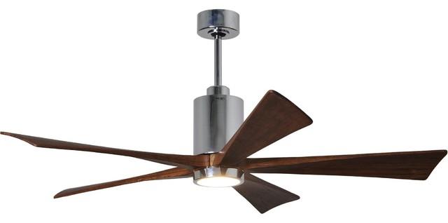 "Patricia 5 Blade Ceiling Fan, Polished Chrome, 60""."