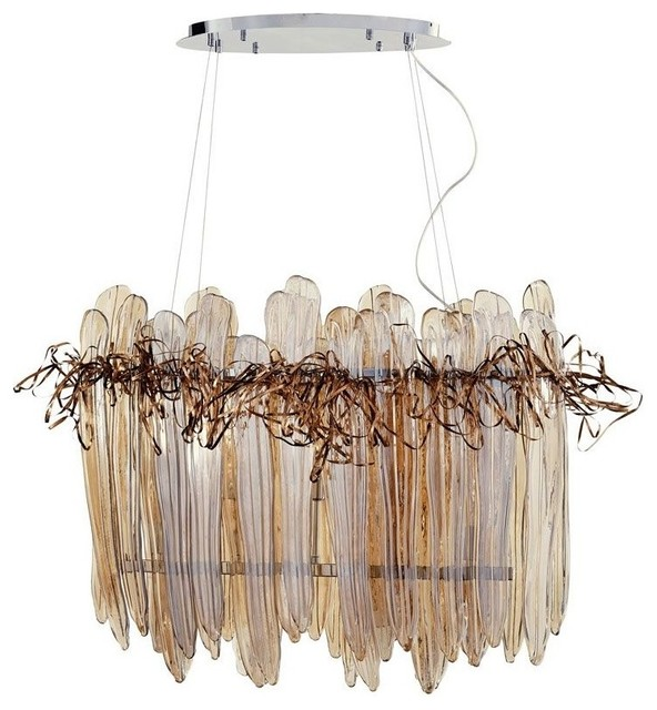Cyan Design Thetis 5-Light Linear Chandelier, Chrome and Copper