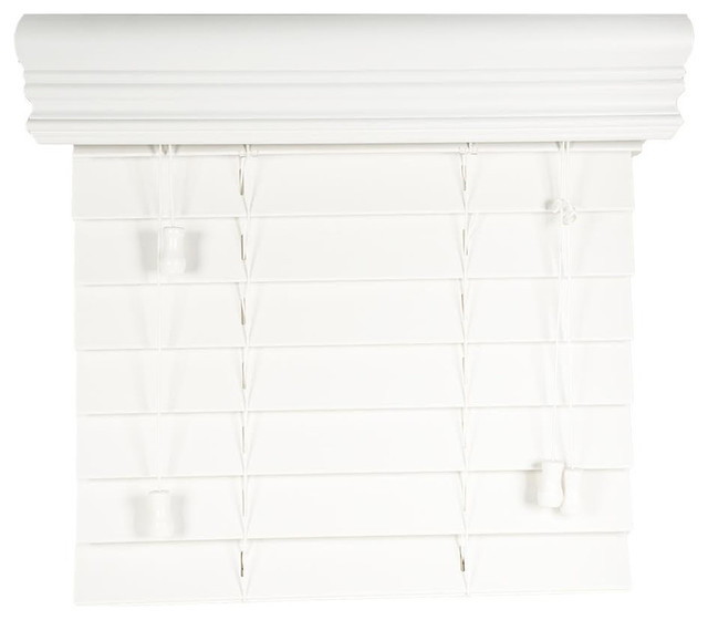 "2"" Faux Wood Blinds, Snow White, 22.50""x48""."