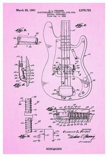 Patent Earth - Fender Precision Bass Guitar Poster Patent Art Print & Reviews | Houzz