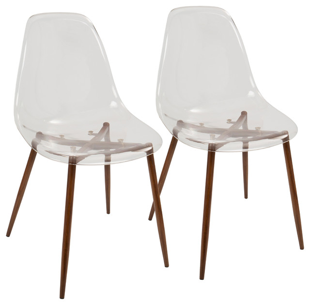 Clara Dining Chairs, Set Of 2, Walnut, Clear.