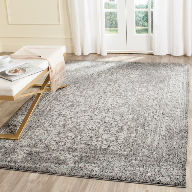 "Elowen Area Rug, Gray And Ivory, 6&x27;7""x9&x27;."