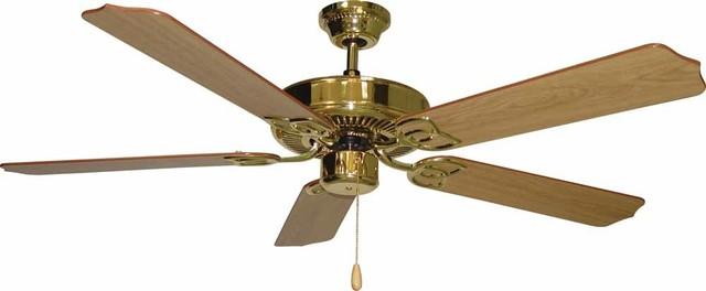 Volume Lighting Minster Polished Brass Ceiling Fan.