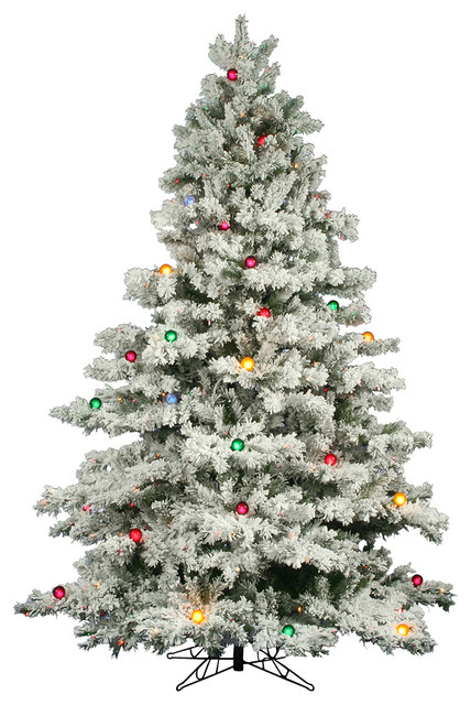 9' Prelit Flocked Alaskan Pine Tree, Multicolor Lights - Traditional - Christmas  Trees - by Vickerman Company - 9' Prelit Flocked Alaskan Pine Tree, Multicolor Lights - Traditional