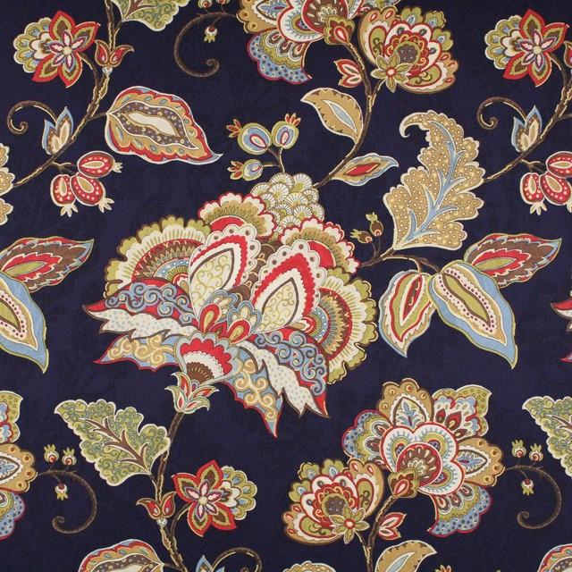 Indigo Black Blue Yellow Neutral Floral Print Upholstery Fabric