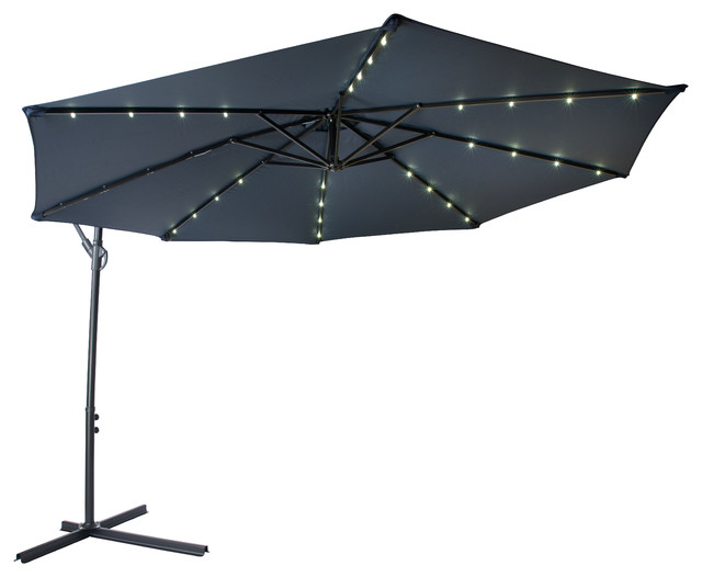 10 Deluxe Offset Patio Umbrella Led Lights Contemporary Outdoor Umbrellas By Trademark Innovations