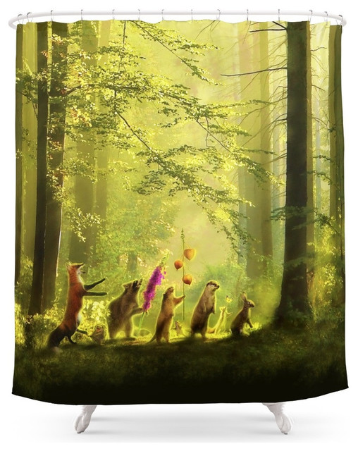 society6 secret parade shower curtain - contemporary - shower