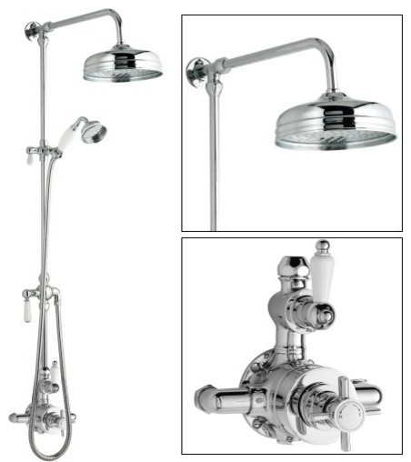 Ceramic Chrome Thermostatic Shower System With Rose Head And Grand