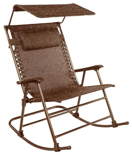 patio bliss deluxe rocking chair with canopy brown jacquard victorian outdoor chaise. Black Bedroom Furniture Sets. Home Design Ideas