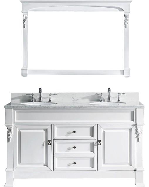 "Shropshire Double Bathroom Vanity, White, Round Basin, Nickel Faucet, 60""."