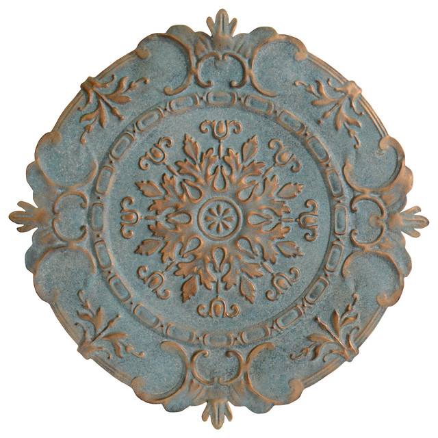 Metal Medallion Wall Art Impressive Fayette Distressed Blue Medallion Metal Wall Decor  Traditional Review