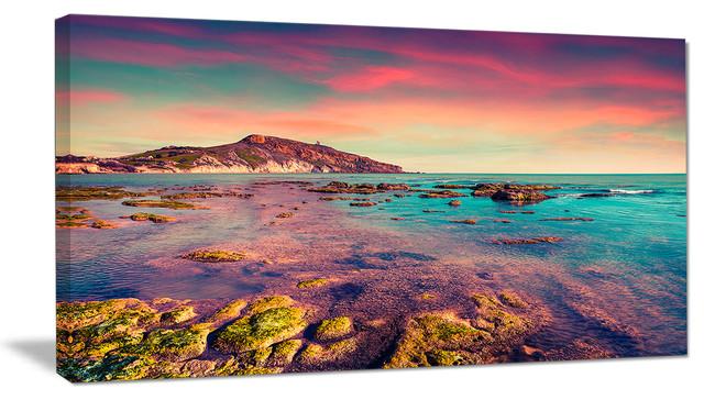 """giallonardo Beach Colorful Sunset"" Seashore Photo Wall Art, 1 Panel, 60""x28""."