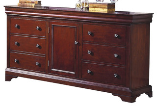 New Classic Versaille 6 Drawer Dresser, Bordeaux Finish