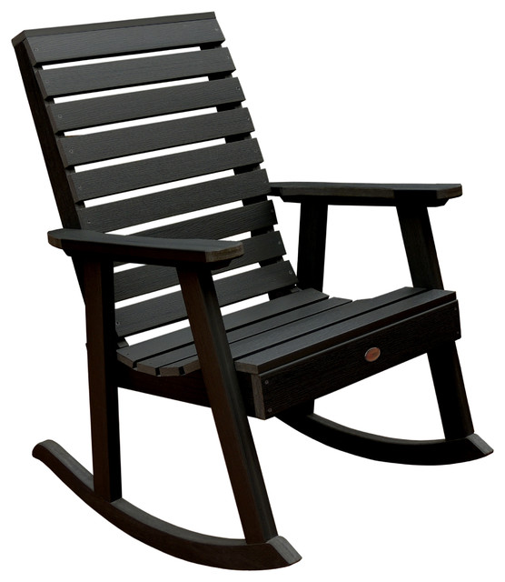 Weatherly Rocking Chair , Black Contemporary Outdoor Rocking Chairs