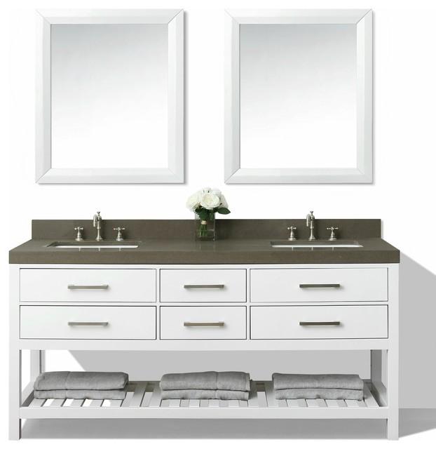 Elizabeth 72 Bath Vanity Set White Kaffee Quartz Countertop Undermount Basin Transitional