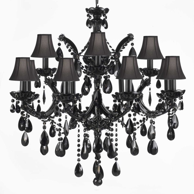 Chandelier Black Crystal: Jet Black Crystal Chandelier With Black Shades traditional-chandeliers,Lighting