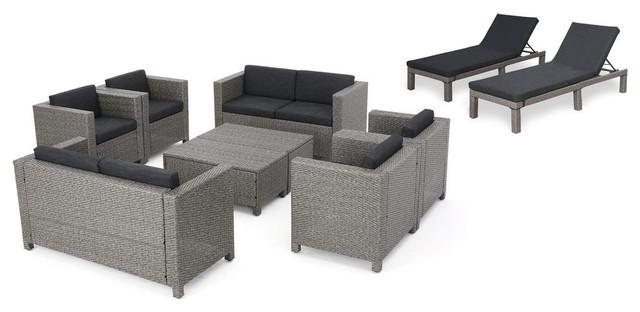 GDF Studio 10 Piece Portofino Outdoor Wicker Patio Set With Cushions