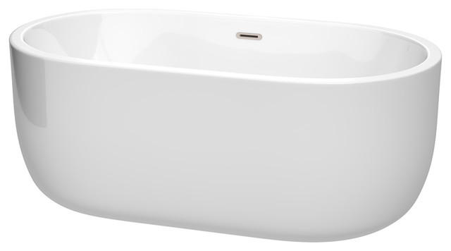 "Juliette 60"" Freestanding White Bathtub, Brushed Nickel Drain and Overflow Trim"