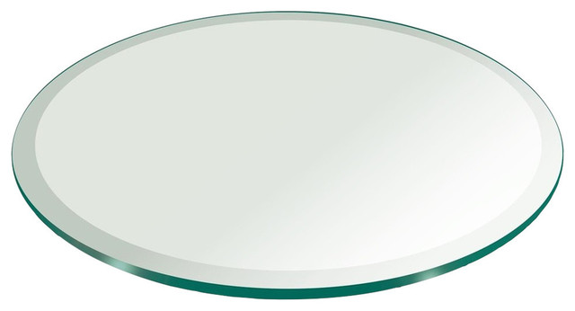 Round 3/8&x27;&x27; Thick Beveled Edge Tempered Glass Table Top, 36.