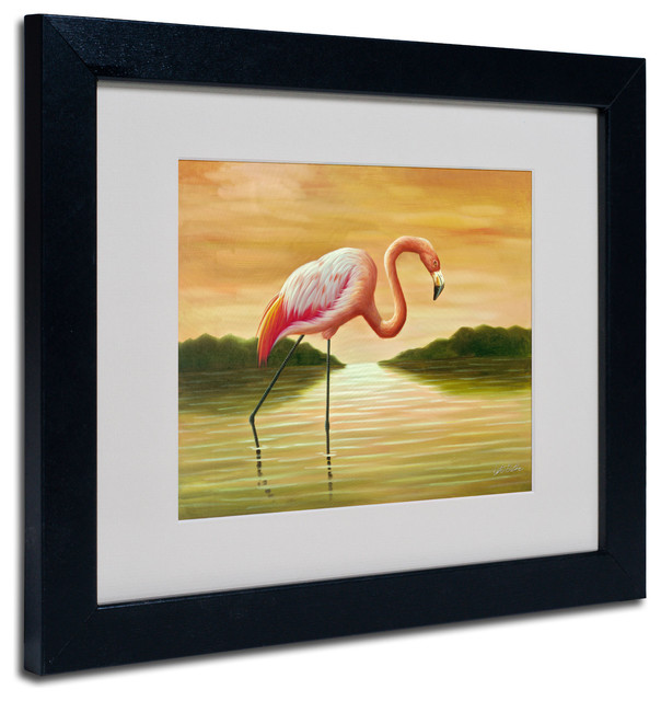 Pink Flamingo\' Matted Framed Canvas Art by Victor Giton - Tropical ...