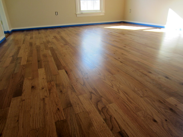 East hampton rustic red oak refinished with fruitwood for Rustic red oak flooring