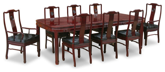 """Asian Dining Room Furniture: 96"""" Rosewood Longevity Design Dining Table With 8 Chairs"""