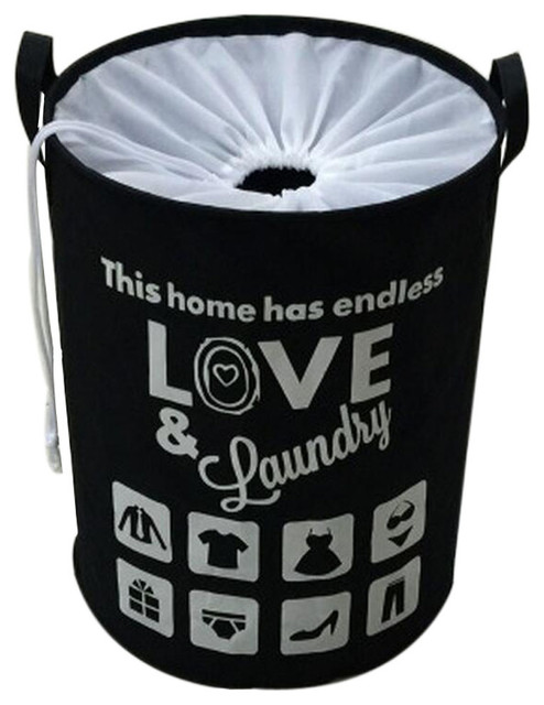 Drawstring Home Laundry Baskets Clothes Hamper Storage Toy Organizer, Black.