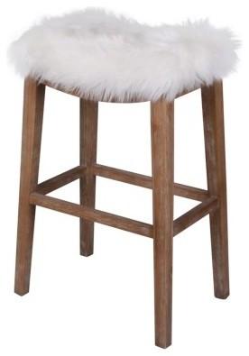 Elmo Faux Fur Counter Stool Freesia White Contemporary