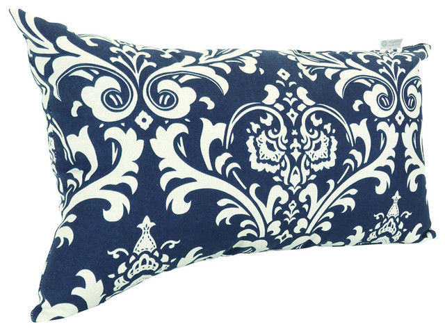 Outdoor French Quarter Pillow, Navy Blue Transitional Outdoor Cushions And  Pillows