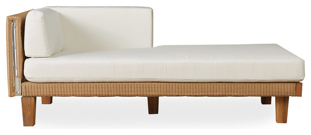 Lloyd Flanders Catalina Left Arm Chaise, Linen Finish, Botanic Willow Fabric.