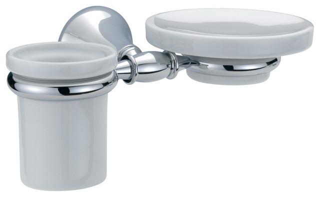 Ba Tempo Wall Mounted Ceramic Soap Dish Holder Tumbler Set Brass