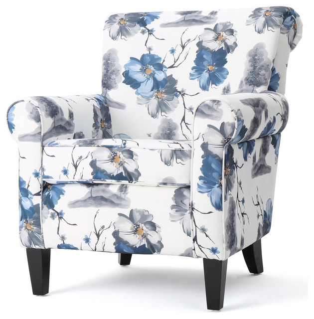 Great Manon Floral Fabric Club Chair, Blue And White