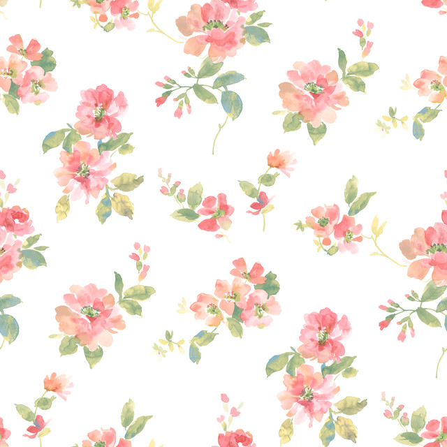 Schooner Prints Inc Captiva Peach Watercolor Floral