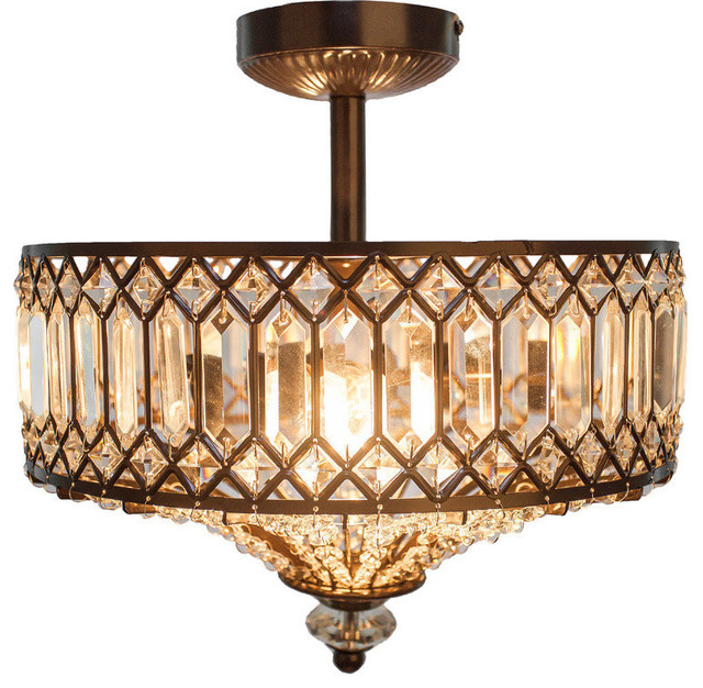 14 5 H Tiered Jeweled Glass Bronzed Metal Semi Flush Mount Lighting Fixture