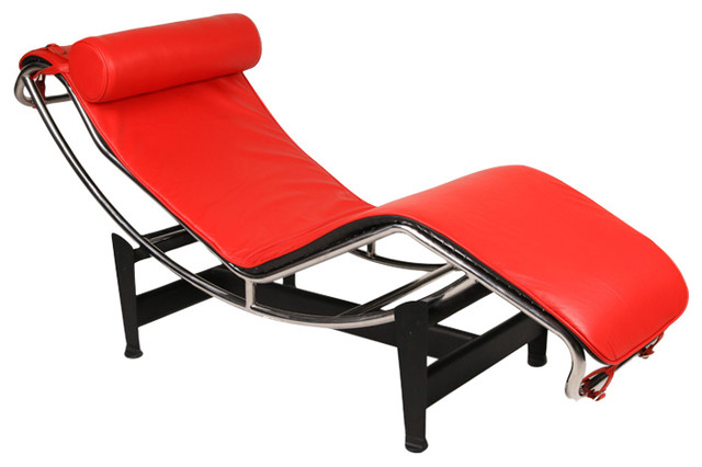Gravity Aniline Leather Chaise Lounge Contemporary
